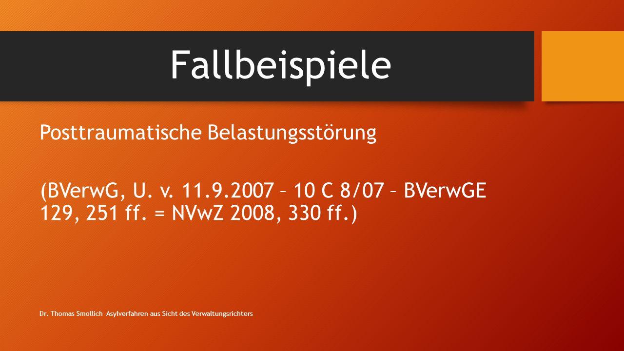 Fallbeispiele Posttraumatische Belastungsstörung (BVerwG, U.