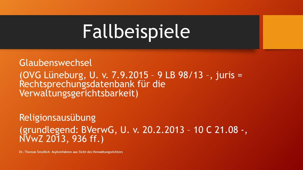 Fallbeispiele Glaubenswechsel (OVG Lüneburg, U.v.