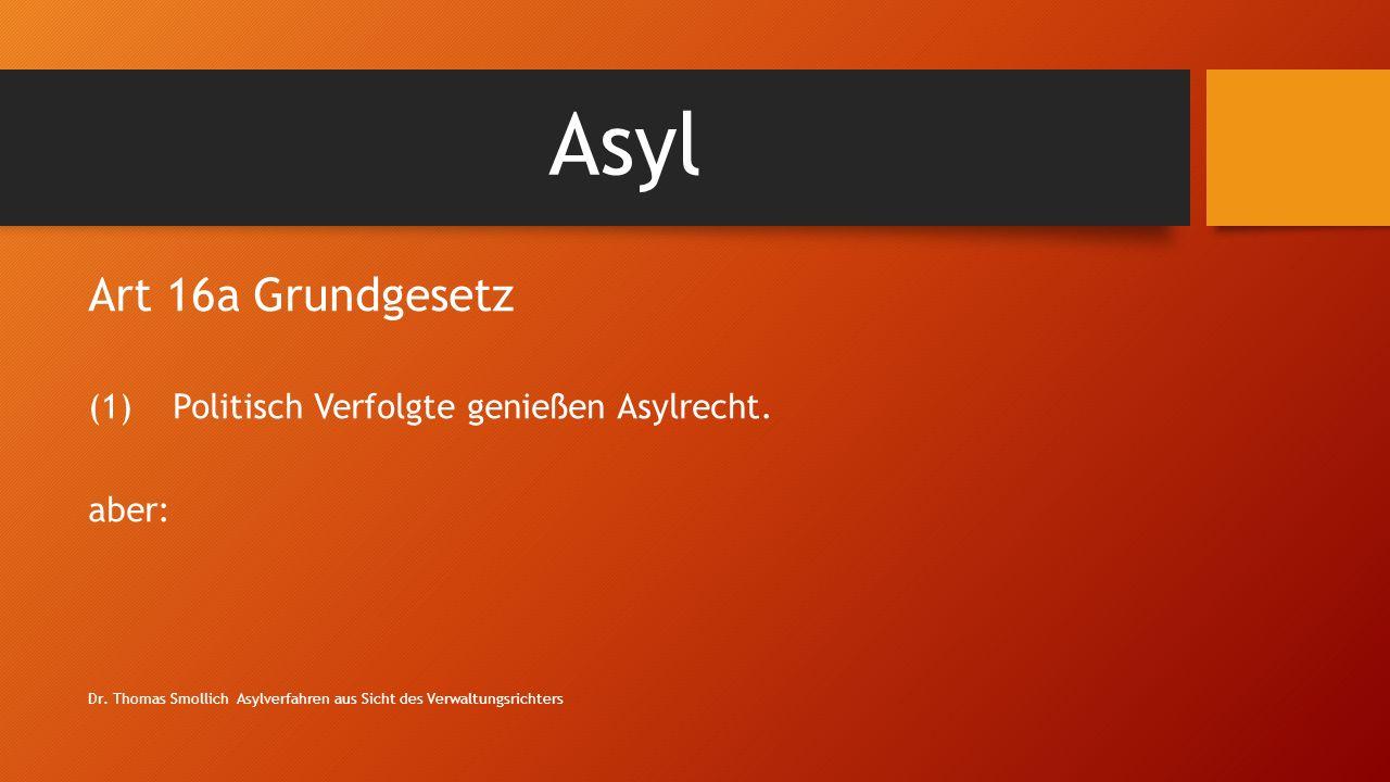 Asyl Art 16a Grundgesetz (1)Politisch Verfolgte genießen Asylrecht.