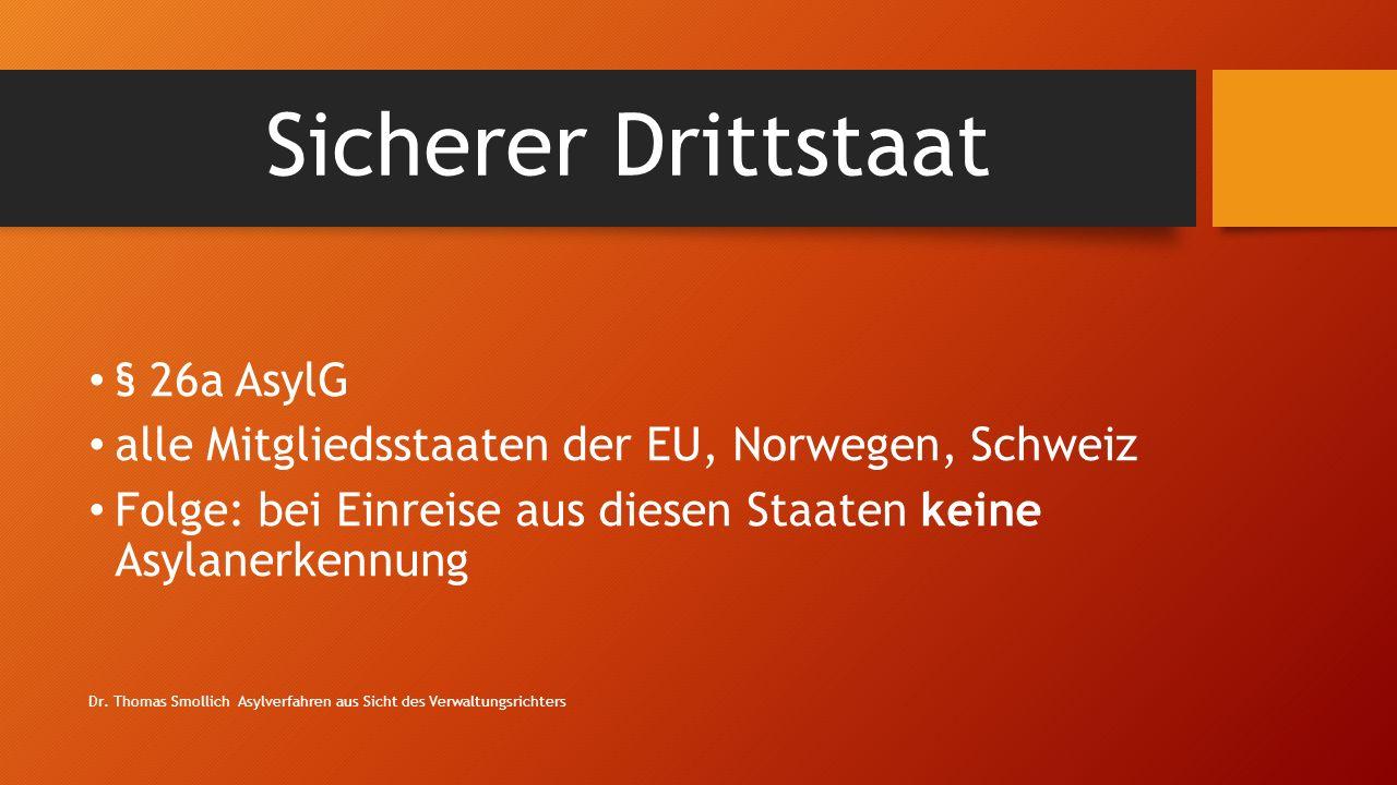 Sicherer Drittstaat § 26a AsylG alle Mitgliedsstaaten der EU, Norwegen, Schweiz Folge: bei Einreise aus diesen Staaten keine Asylanerkennung Dr.