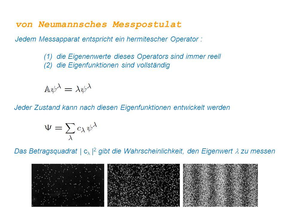 Jeder Zustand kann nach diesen Eigenfunktionen entwickelt werden von Neumannsches Messpostulat Jedem Messapparat entspricht ein hermitescher Operator