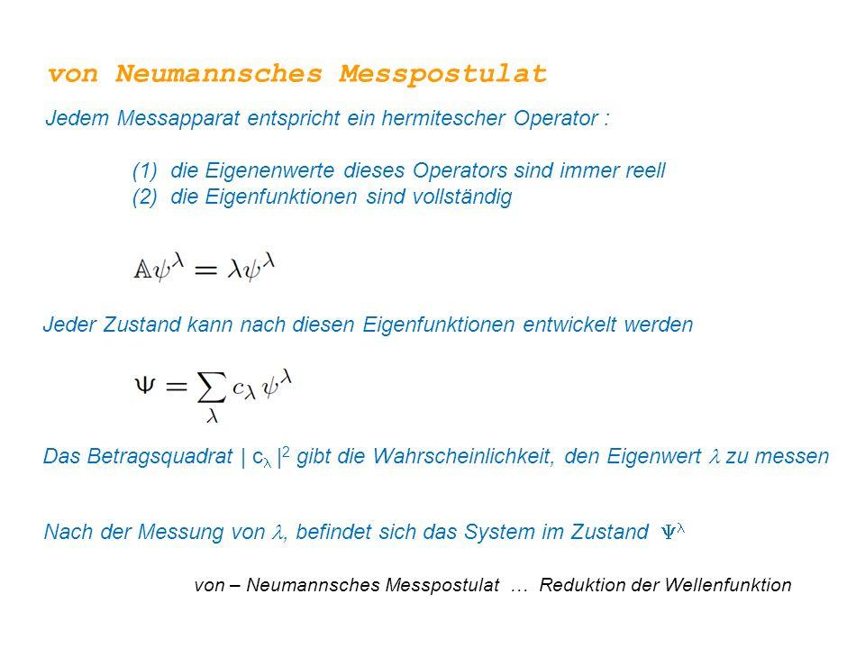 Nach der Messung von, befindet sich das System im Zustand  von – Neumannsches Messpostulat … Reduktion der Wellenfunktion Jeder Zustand kann nach die