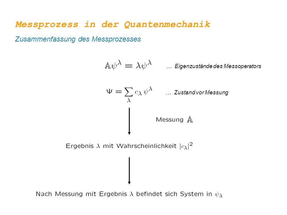 … Eigenzustände des Messoperators … Zustand vor Messung Messprozess in der Quantenmechanik Zusammenfassung des Messprozesses