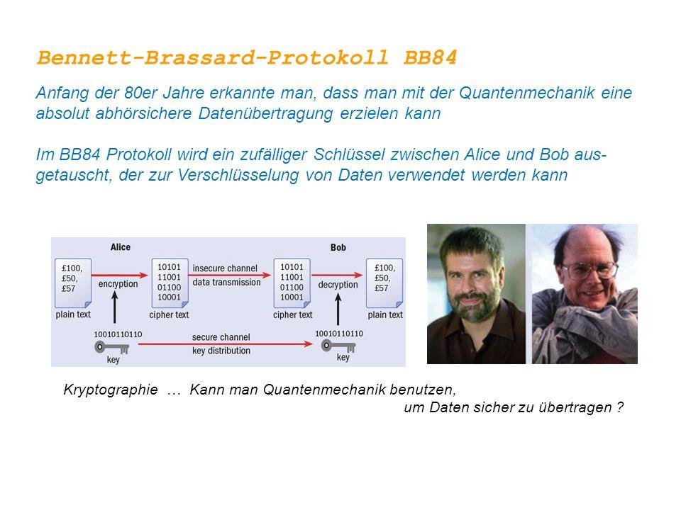 Kryptographie … Kann man Quantenmechanik benutzen, um Daten sicher zu übertragen ? Bennett-Brassard-Protokoll BB84 Anfang der 80er Jahre erkannte man,