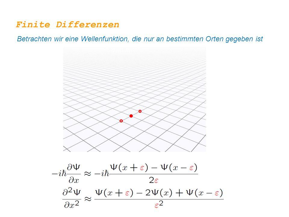 Finite Differenzen Betrachten wir eine Wellenfunktion, die nur an bestimmten Orten gegeben ist