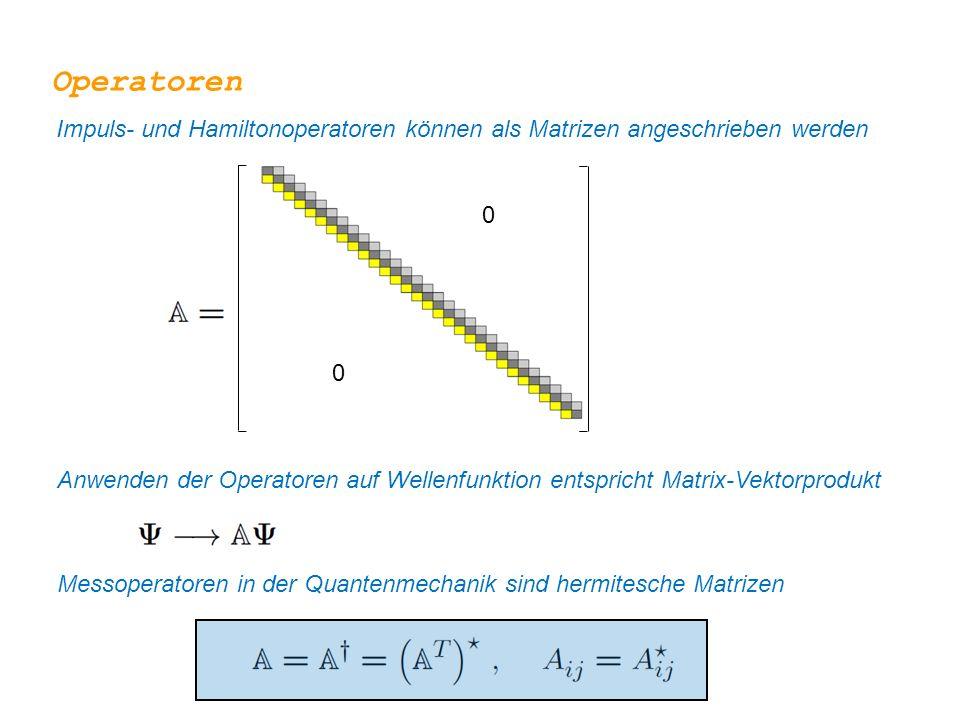 Operatoren Impuls- und Hamiltonoperatoren können als Matrizen angeschrieben werden 0 0 Anwenden der Operatoren auf Wellenfunktion entspricht Matrix-Ve