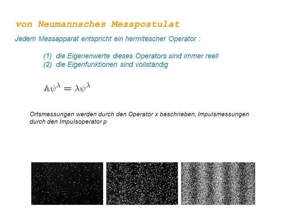 Jeder Zustand kann nach diesen Eigenfunktionen entwickelt werden von Neumannsches Messpostulat Jedem Messapparat entspricht ein hermitescher Operator : (1) die Eigenenwerte dieses Operators sind immer reell (2) die Eigenfunktionen sind vollständig Beispiel: Impulsbasis
