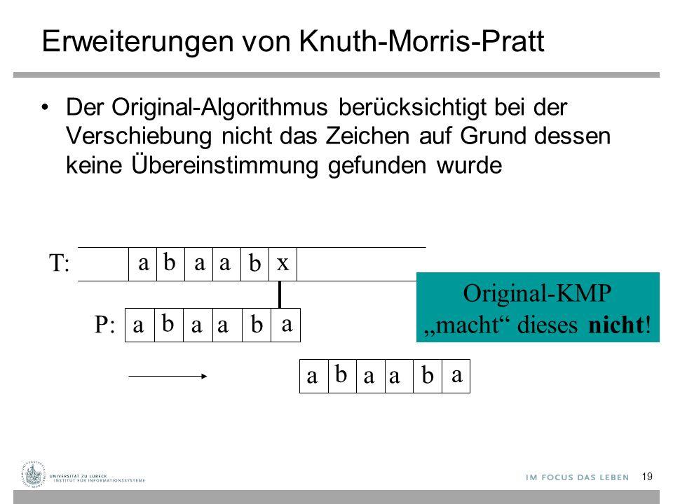 """Erweiterungen von Knuth-Morris-Pratt Der Original-Algorithmus berücksichtigt bei der Verschiebung nicht das Zeichen auf Grund dessen keine Übereinstimmung gefunden wurde aaab b x aaa b b a T: P: Original-KMP """"macht dieses nicht."""