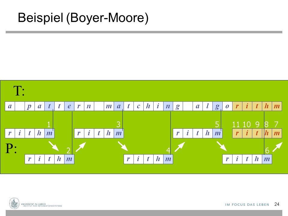 Beispiel (Boyer-Moore) T: P: 24
