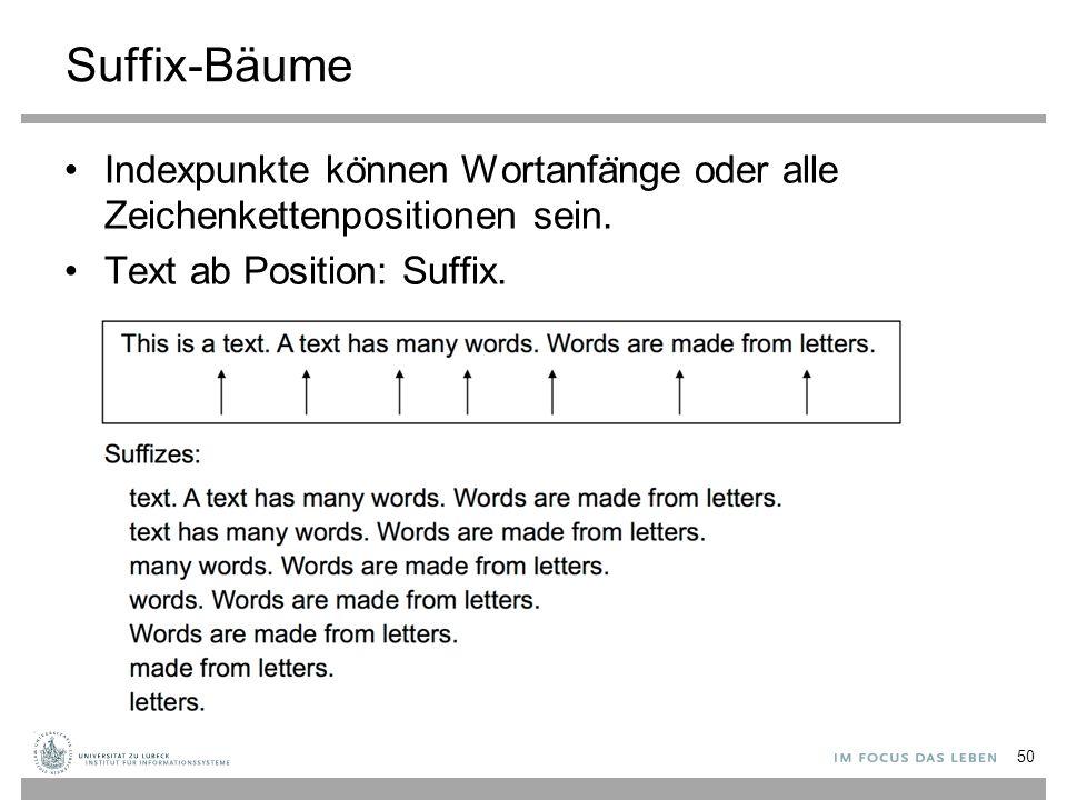 Suffix-Bäume Indexpunkte ko ̈ nnen Wortanfa ̈ nge oder alle Zeichenkettenpositionen sein.