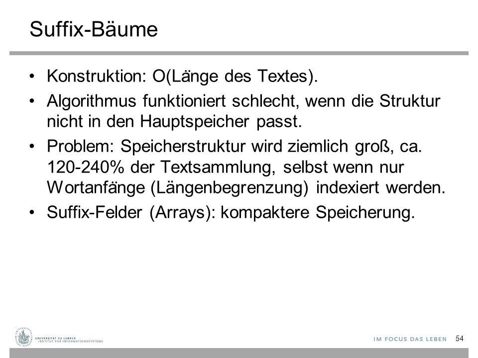 Suffix-Bäume Konstruktion: O(La ̈ nge des Textes).