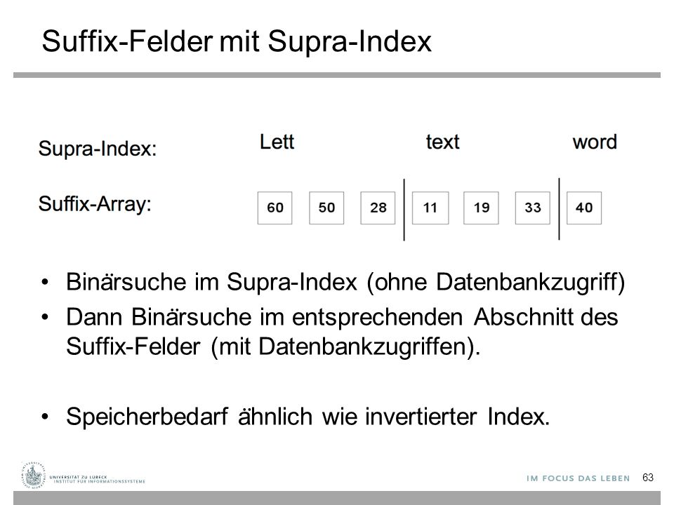 Suffix-Felder mit Supra-Index Bina ̈ rsuche im Supra-Index (ohne Datenbankzugriff) Dann Bina ̈ rsuche im entsprechenden Abschnitt des Suffix-Felder (mit Datenbankzugriffen).