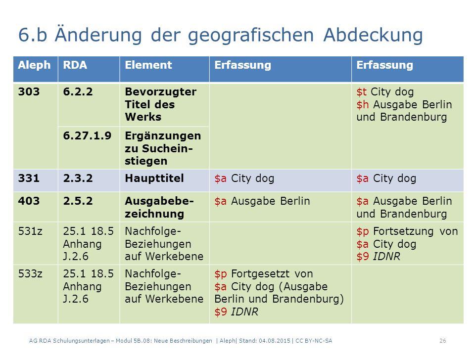 AG RDA Schulungsunterlagen – Modul 5B.08: Neue Beschreibungen | Aleph| Stand: 04.08.2015 | CC BY-NC-SA26 6.b Änderung der geografischen Abdeckung AlephRDAElementErfassung 3036.2.2Bevorzugter Titel des Werks $t City dog $h Ausgabe Berlin und Brandenburg 6.27.1.9Ergänzungen zu Suchein- stiegen 3312.3.2Haupttitel$a City dog 4032.5.2Ausgabebe- zeichnung $a Ausgabe Berlin$a Ausgabe Berlin und Brandenburg 531z25.1 18.5 Anhang J.2.6 Nachfolge- Beziehungen auf Werkebene $p Fortsetzung von $a City dog $9 IDNR 533z25.1 18.5 Anhang J.2.6 Nachfolge- Beziehungen auf Werkebene $p Fortgesetzt von $a City dog (Ausgabe Berlin und Brandenburg) $9 IDNR