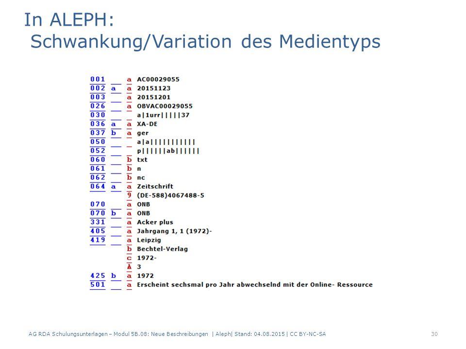 AG RDA Schulungsunterlagen – Modul 5B.08: Neue Beschreibungen | Aleph| Stand: 04.08.2015 | CC BY-NC-SA30 In ALEPH: Schwankung/Variation des Medientyps
