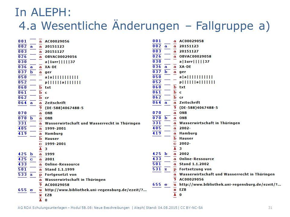 AG RDA Schulungsunterlagen – Modul 5B.08: Neue Beschreibungen | Aleph| Stand: 04.08.2015 | CC BY-NC-SA31 In ALEPH: 4.a Wesentliche Änderungen – Fallgruppe a)