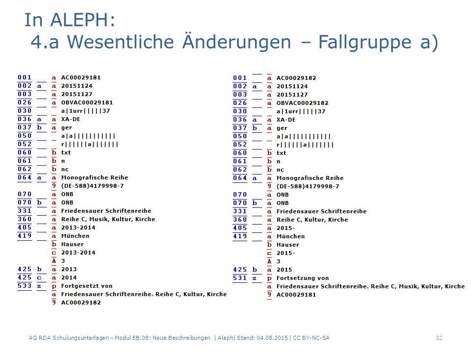 AG RDA Schulungsunterlagen – Modul 5B.08: Neue Beschreibungen | Aleph| Stand: 04.08.2015 | CC BY-NC-SA32 In ALEPH: 4.a Wesentliche Änderungen – Fallgruppe a)