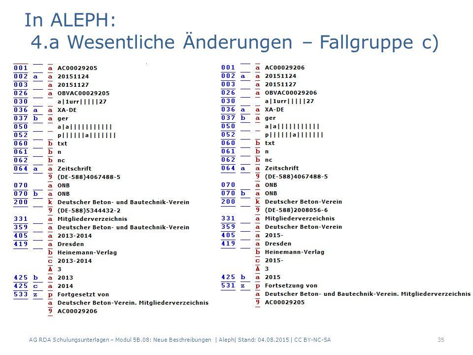 AG RDA Schulungsunterlagen – Modul 5B.08: Neue Beschreibungen | Aleph| Stand: 04.08.2015 | CC BY-NC-SA35 In ALEPH: 4.a Wesentliche Änderungen – Fallgruppe c)