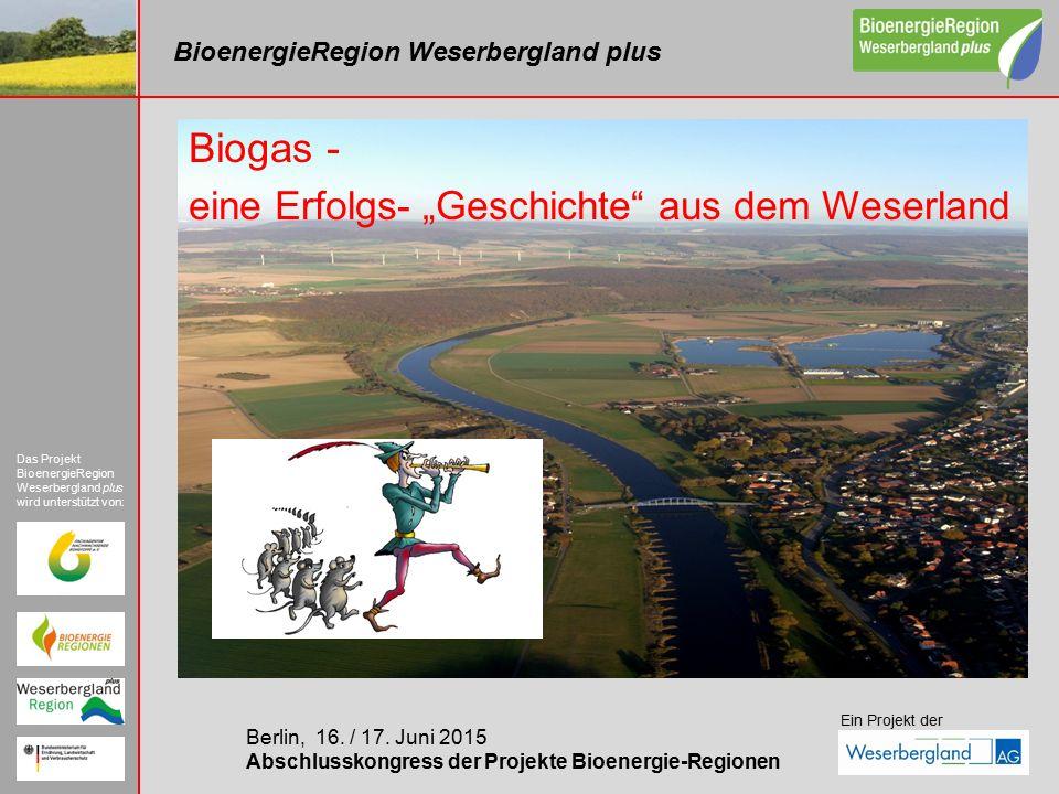 BioenergieRegion Weserbergland plus Berlin, 16. / 17. Juni 2015 Abschlusskongress der Projekte Bioenergie-Regionen Das Projekt BioenergieRegion Weserb