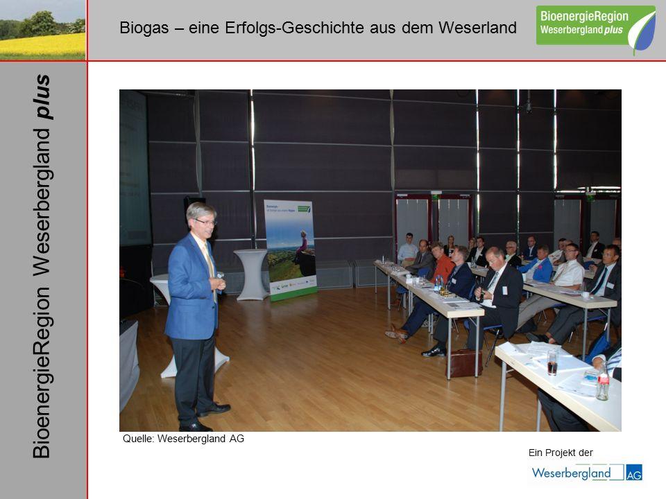 Biogas – eine Erfolgs-Geschichte aus dem Weserland Ein Projekt der BioenergieRegion Weserbergland plus Quelle: Weserbergland AG