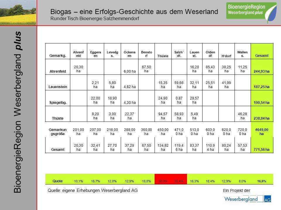 Biogas – eine Erfolgs-Geschichte aus dem Weserland Runder Tisch Bioenergie Salzhemmendorf Ein Projekt der BioenergieRegion Weserbergland plus Gemarkg.