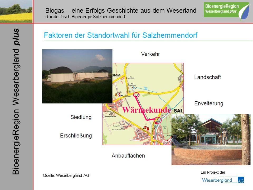 Biogas – eine Erfolgs-Geschichte aus dem Weserland Runder Tisch Bioenergie Salzhemmendorf Ein Projekt der BioenergieRegion Weserbergland plus Quelle: Weserbergland AG