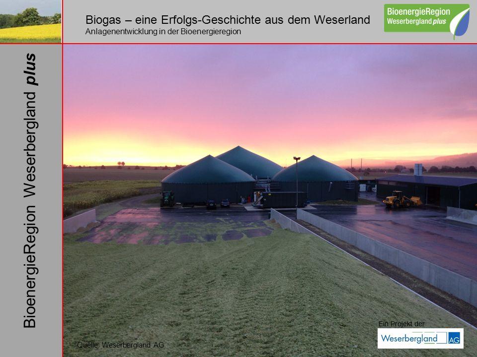 Biogas – eine Erfolgs-Geschichte aus dem Weserland Anlagenentwicklung in der Bioenergieregion Ein Projekt der BioenergieRegion Weserbergland plus Quelle: Weserbergland AG