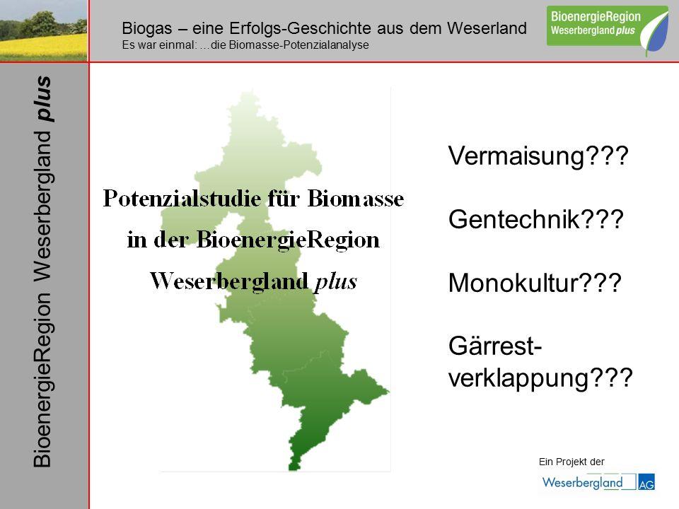 Biogas – eine Erfolgs-Geschichte aus dem Weserland Es war einmal: …die Biomasse-Potenzialanalyse Ein Projekt der BioenergieRegion Weserbergland plus Vermaisung .