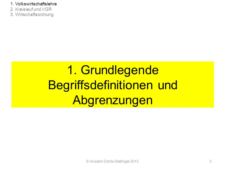 1. Grundlegende Begriffsdefinitionen und Abgrenzungen © Anselm Dohle-Beltinger 20153 1. Volkswirtschaftslehre 2. Kreislauf und VGR 3. Wirtschaftsordnu