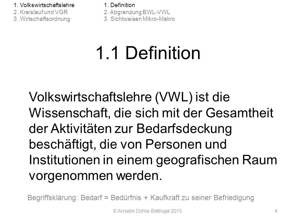 1.1 Definition Volkswirtschaftslehre (VWL) ist die Wissenschaft, die sich mit der Gesamtheit der Aktivitäten zur Bedarfsdeckung beschäftigt, die von P