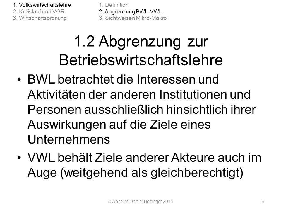 1.2 Abgrenzung zur Betriebswirtschaftslehre BWL betrachtet die Interessen und Aktivitäten der anderen Institutionen und Personen ausschließlich hinsic