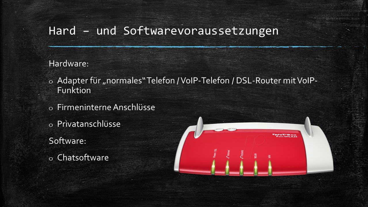 """Hard – und Softwarevoraussetzungen Hardware: o Adapter für """"normales Telefon / VoIP-Telefon / DSL-Router mit VoIP- Funktion o Firmeninterne Anschlüsse o Privatanschlüsse Software: o Chatsoftware"""