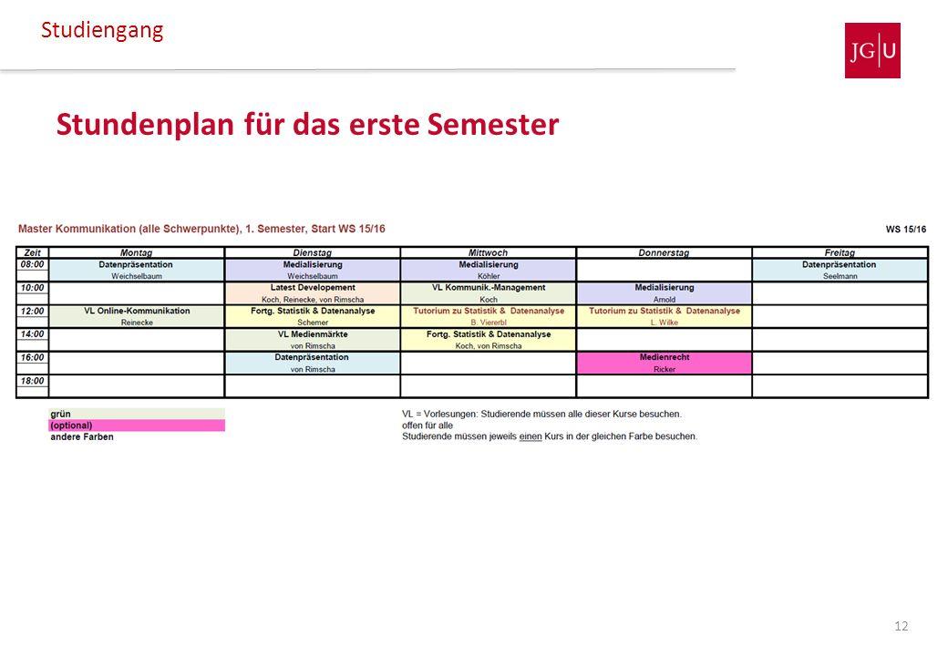 Stundenplan für das erste Semester Studiengang 12