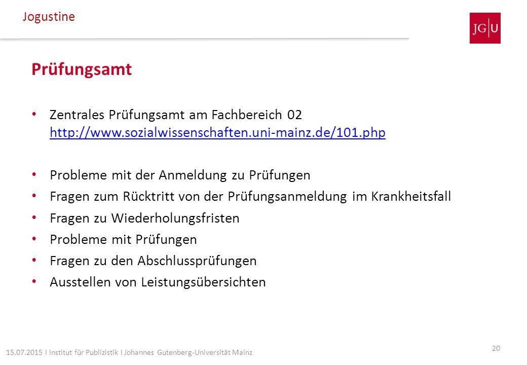 Prüfungsamt Zentrales Prüfungsamt am Fachbereich 02 http://www.sozialwissenschaften.uni-mainz.de/101.php http://www.sozialwissenschaften.uni-mainz.de/