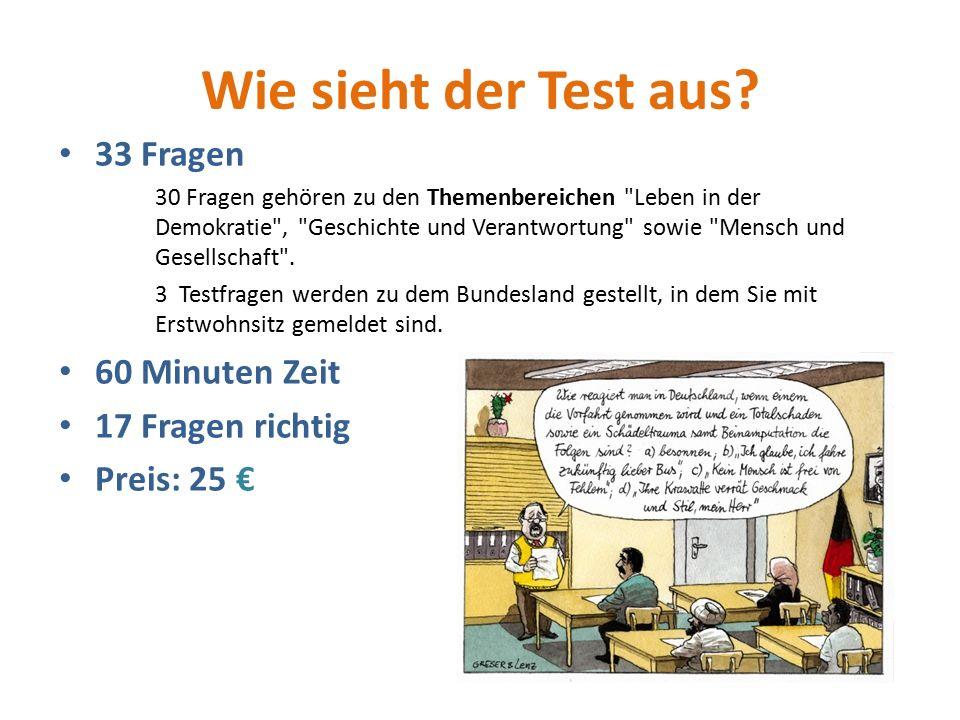 Wie sieht der Test aus? 33 Fragen 30 Fragen gehören zu den Themenbereichen