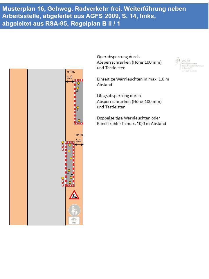 Musterplan 16, Gehweg, Radverkehr frei, Weiterführung neben Arbeitsstelle, abgeleitet aus AGFS 2009, S. 14, links, abgeleitet aus RSA-95, Regelplan B