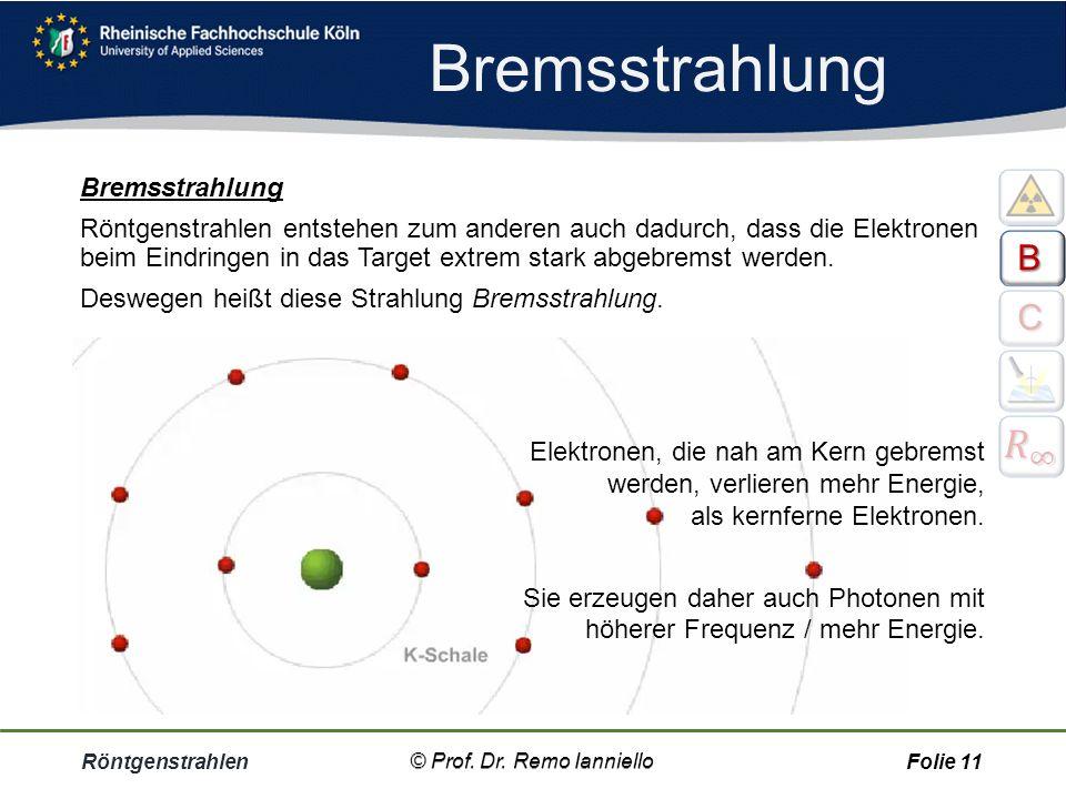 Röntgenstrahlen© Prof. Dr. Remo IannielloFolie 10 Bremsstrahlung © Prof. Dr. Remo Ianniello
