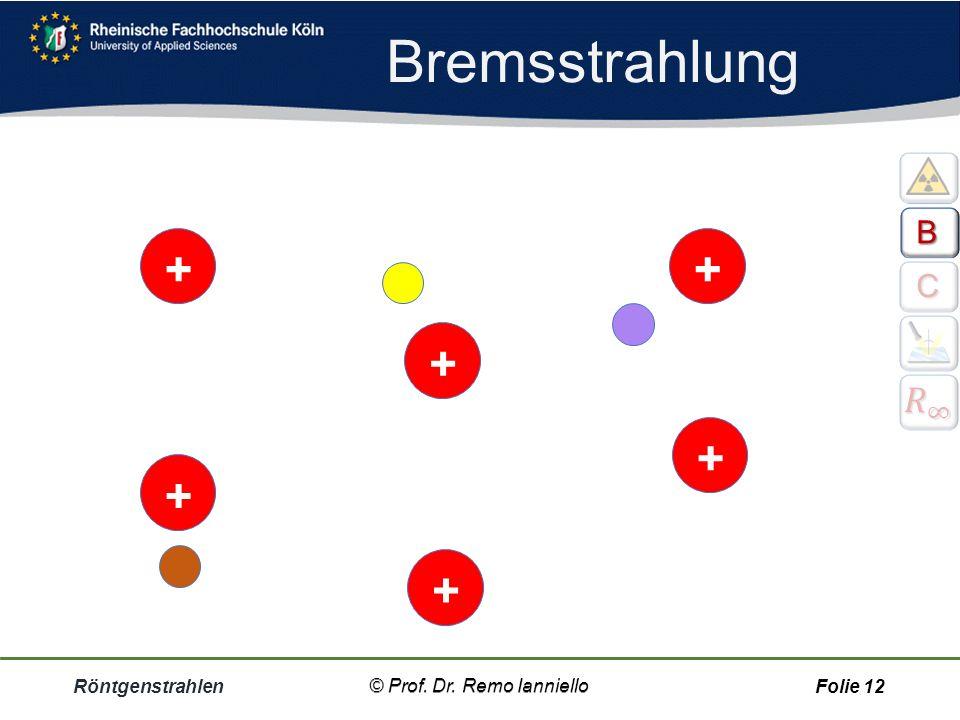 Bremsstrahlung Röntgenstrahlen© Prof. Dr. Remo IannielloFolie 11 Bremsstrahlung Röntgenstrahlen entstehen zum anderen auch dadurch, dass die Elektrone