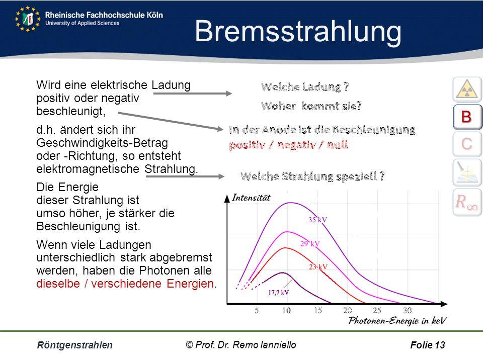 Bremsstrahlung Röntgenstrahlen© Prof. Dr. Remo IannielloFolie 12 ++++++ © Prof. Dr. Remo Ianniello BBBB CCCC