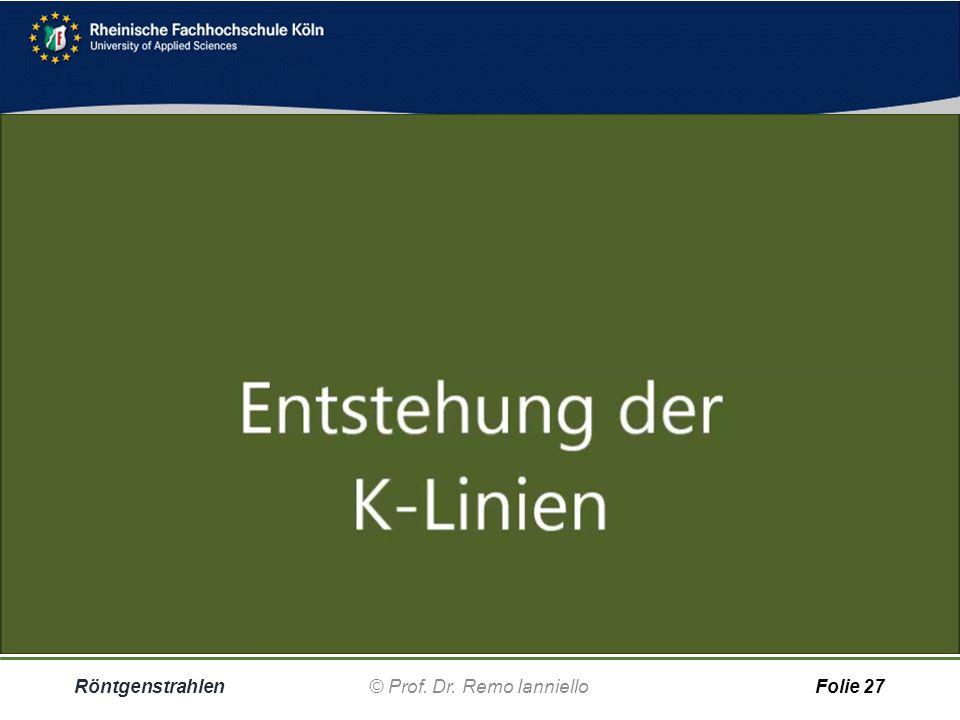 Quiz Charakteristische Strahlung Röntgenstrahlen© Prof. Dr. Remo IannielloFolie 26 Dieselbe Option, z.B. ein Sprung von der L in die K-Schale, würde b