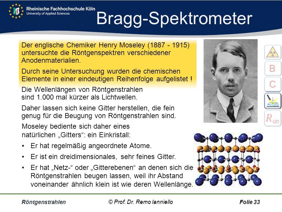 Röntgenstrahlen© Prof. Dr. Remo Ianniello32 Bragg- Reflexion