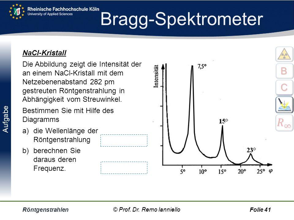 Anwendung Röntgenstrahlen© Prof. Dr. Remo IannielloFolie 40 Pulververfahren nach Debye-Scherrer. Pulver = viele kleine Kristalle, wird zu einem Stäbch