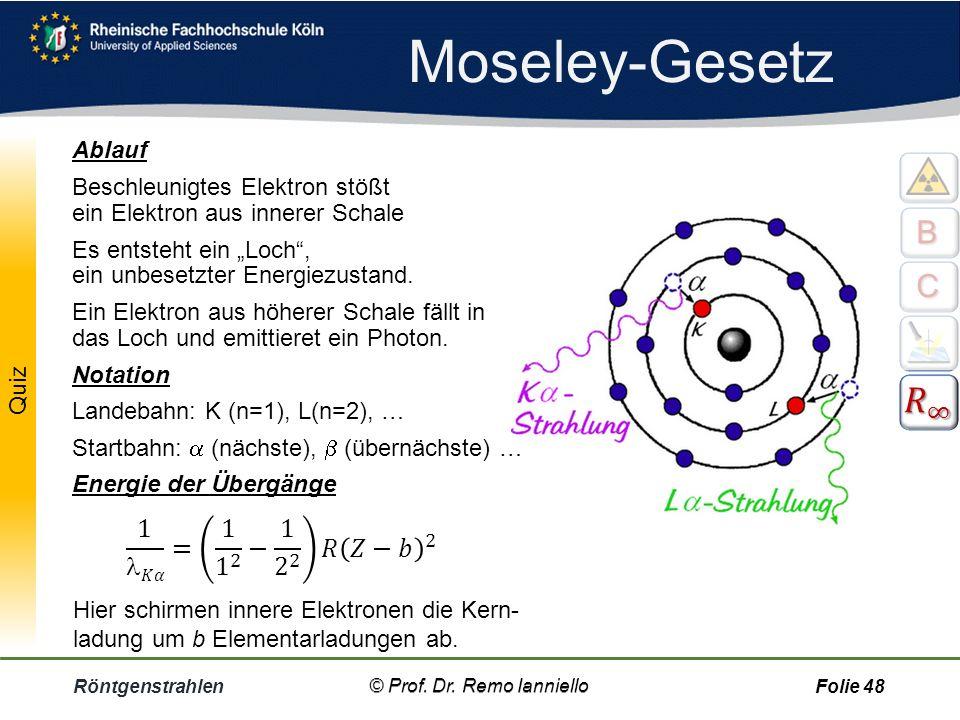 """Überblick Röntgenstrahlen© Prof. Dr. Remo IannielloFolie 47 Rydberg-Konstante, R  = 10, 974·10 6 1/m Ordnungszahl Z = """"Hausnummer"""" im PSE Abschirm-Ko"""