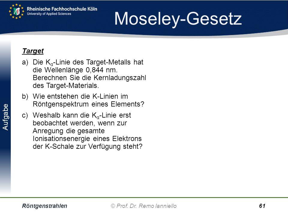 Aufgabe Moseley-Gesetz Röntgenstrahlen© Prof. Dr. Remo IannielloFolie 60 Moseley-Fragen a)Die K a -Strahlung eines unbekannten Elements hat die Wellen