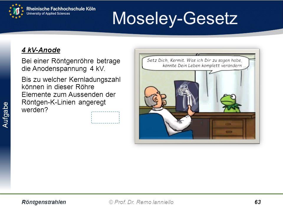 Aufgabe Moseley-Gesetz Röntgenstrahlen© Prof. Dr. Remo IannielloFolie 62 Molybdän Bei den dargestellten Emissions- maxima handelt es sich um die K a -