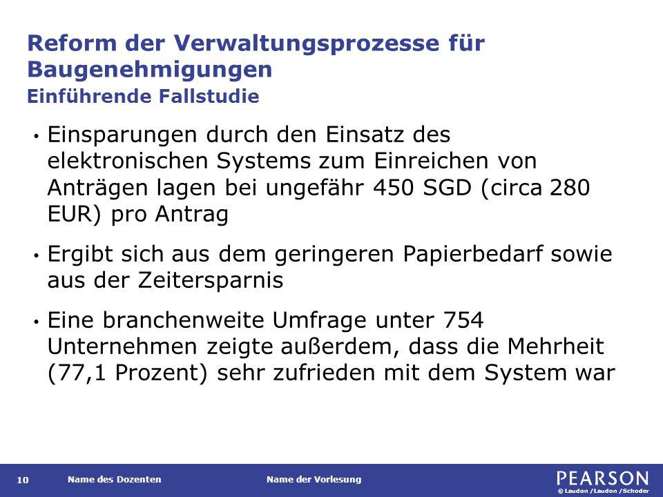 © Laudon /Laudon /Schoder Name des DozentenName der Vorlesung Reform der Verwaltungsprozesse für Baugenehmigungen 10 Einsparungen durch den Einsatz des elektronischen Systems zum Einreichen von Anträgen lagen bei ungefähr 450 SGD (circa 280 EUR) pro Antrag Ergibt sich aus dem geringeren Papierbedarf sowie aus der Zeitersparnis Eine branchenweite Umfrage unter 754 Unternehmen zeigte außerdem, dass die Mehrheit (77,1 Prozent) sehr zufrieden mit dem System war Einführende Fallstudie
