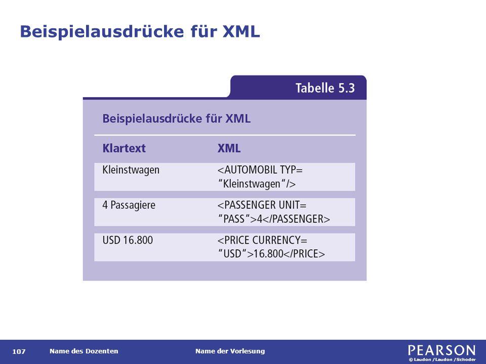 © Laudon /Laudon /Schoder Name des DozentenName der Vorlesung Beispielausdrücke für XML 107