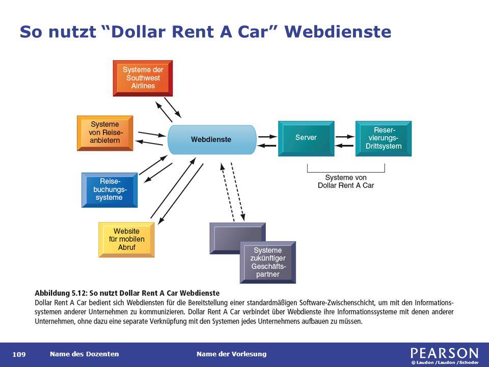 © Laudon /Laudon /Schoder Name des DozentenName der Vorlesung So nutzt Dollar Rent A Car Webdienste 109