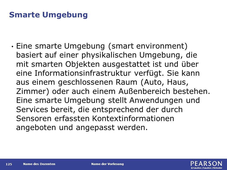 © Laudon /Laudon /Schoder Name des DozentenName der Vorlesung Smarte Umgebung Eine smarte Umgebung (smart environment) basiert auf einer physikalischen Umgebung, die mit smarten Objekten ausgestattet ist und über eine Informationsinfrastruktur verfügt.