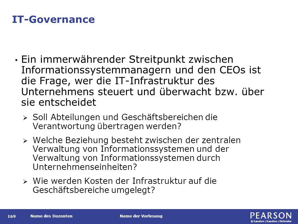 © Laudon /Laudon /Schoder Name des DozentenName der Vorlesung IT-Governance 169 Ein immerwährender Streitpunkt zwischen Informationssystemmanagern und den CEOs ist die Frage, wer die IT-Infrastruktur des Unternehmens steuert und überwacht bzw.