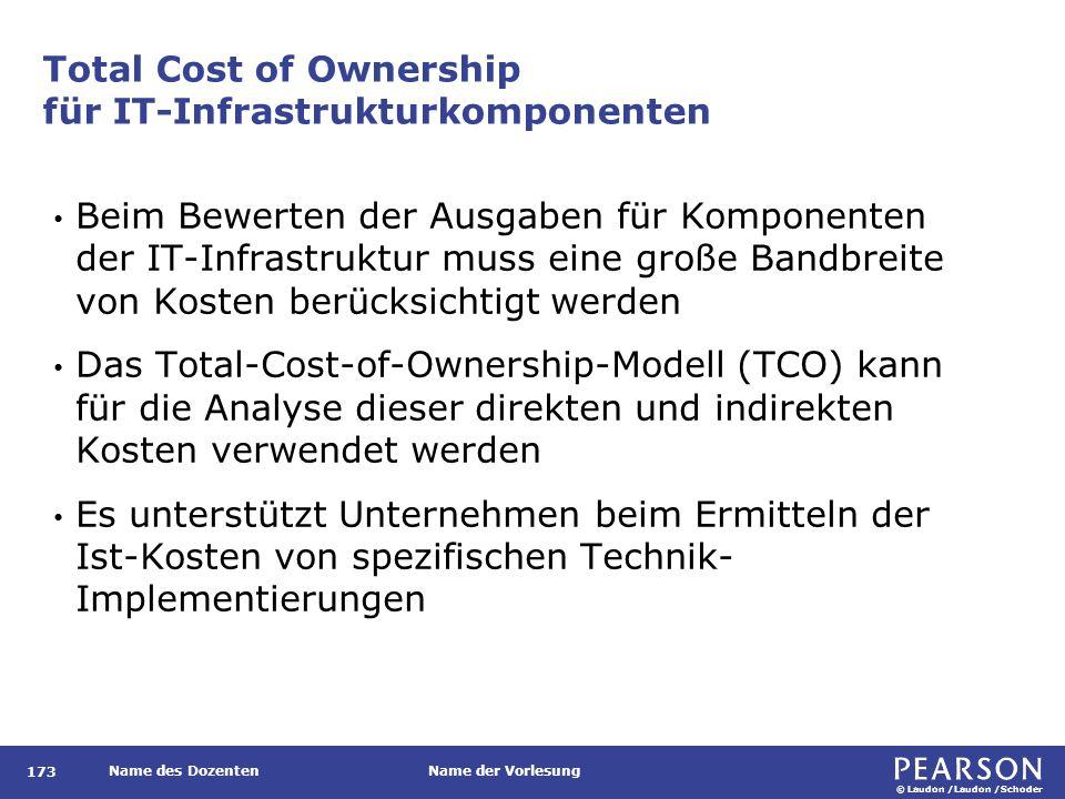 © Laudon /Laudon /Schoder Name des DozentenName der Vorlesung Total Cost of Ownership für IT-Infrastrukturkomponenten Beim Bewerten der Ausgaben für Komponenten der IT-Infrastruktur muss eine große Bandbreite von Kosten berücksichtigt werden Das Total-Cost-of-Ownership-Modell (TCO) kann für die Analyse dieser direkten und indirekten Kosten verwendet werden Es unterstützt Unternehmen beim Ermitteln der Ist-Kosten von spezifischen Technik- Implementierungen 173